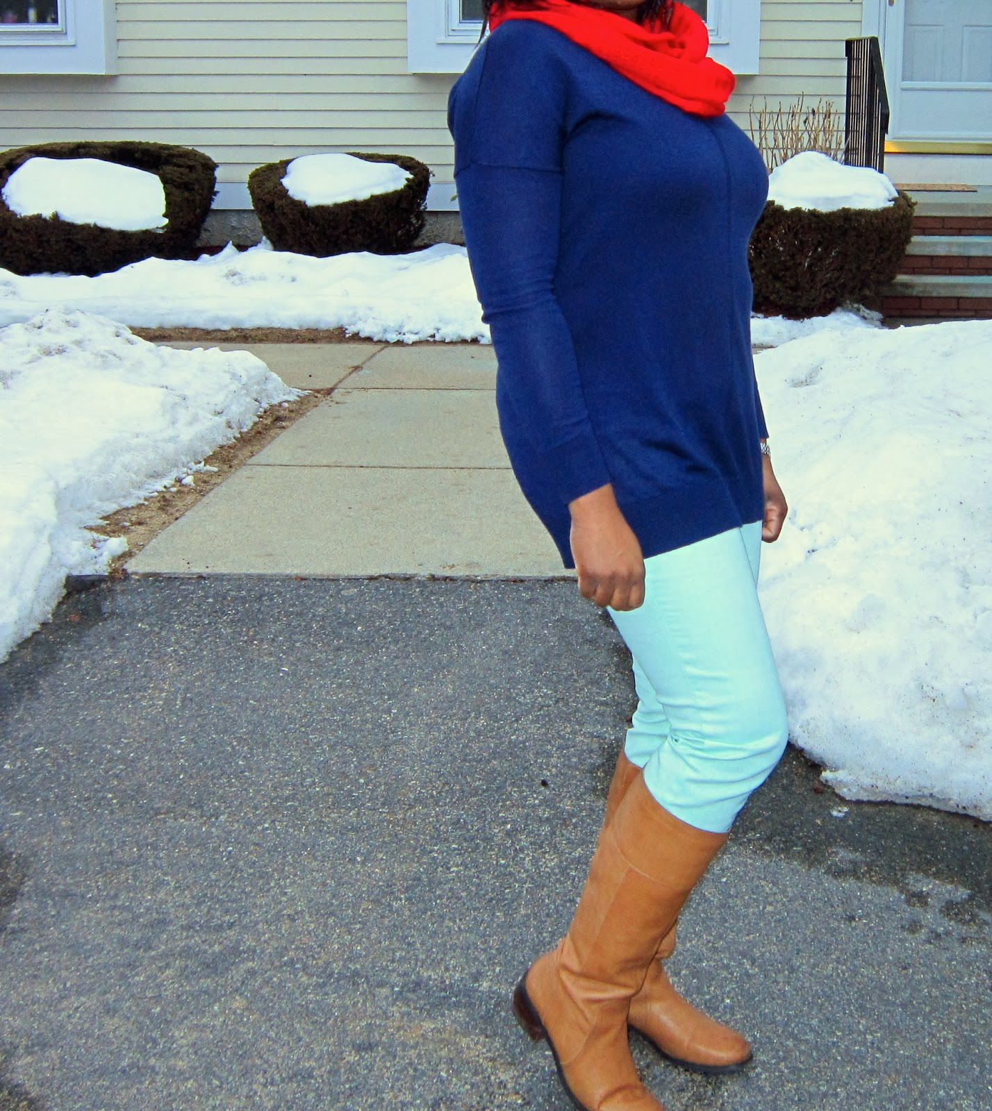 Sweater tunic for plus size, Mint and cognac