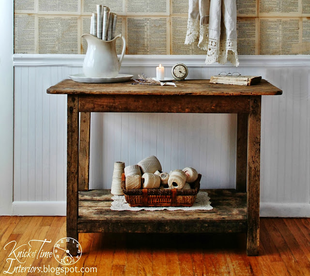 Antique Wooden Farmhouse Work Table Ironstone, shades of white thread via http://knickoftimeinteriors.blogspot.com/