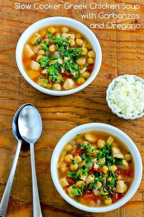 CrockPot Greek Chicken Soup with Garbanzos and Oregano