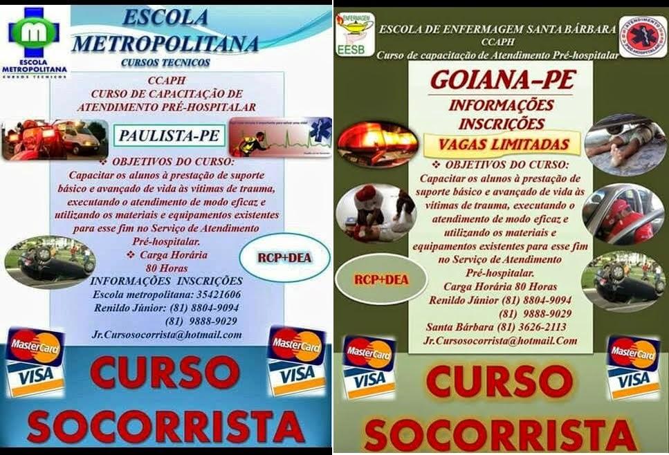 Divulgação: Jr. Curso Socorrista em Paulista e Goiana
