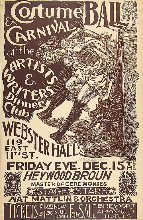 1933 Costume Ball Poster lino cut