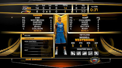 NBA 2K13 Game Summary Screenshot