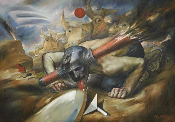 Viktor Safonkin pinturas surreais sombrias medievais mitológicas religião subconsciente Energia do leite