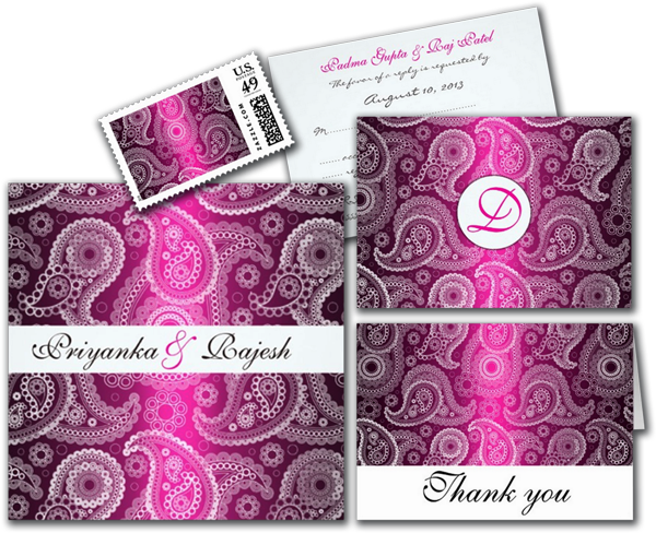 Shimmer Pink and White Paisley Wedding Invitation