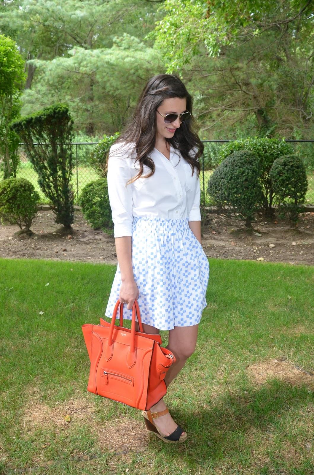 white shirt + crosshatch skirt