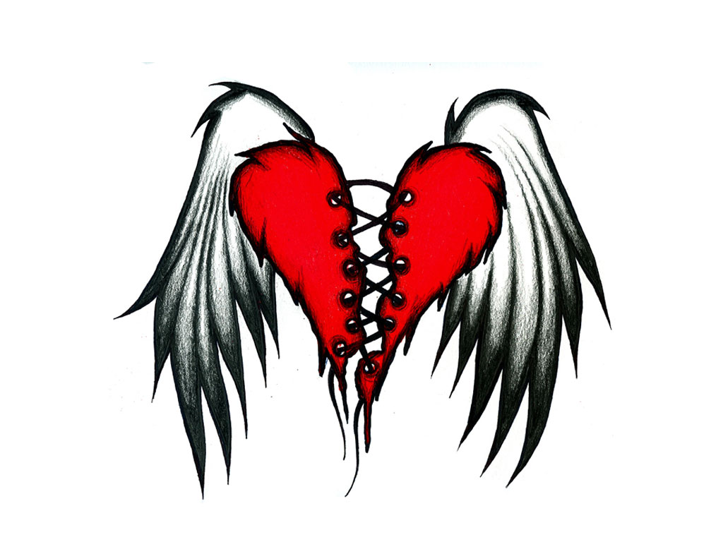 Broken Heart with Wings Tattoo