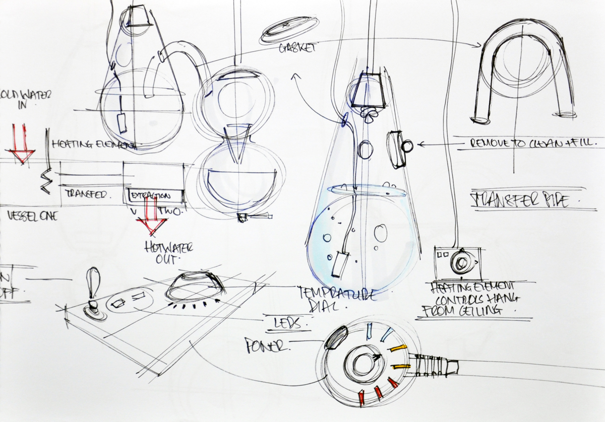 Concept sketches by industrial designer dean ovens