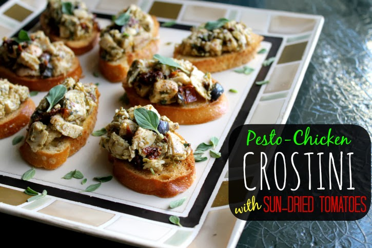 #ad Pesto-Chicken Crostini with Sun-Dried Tomatoes #NatureRaised #shop #cbias