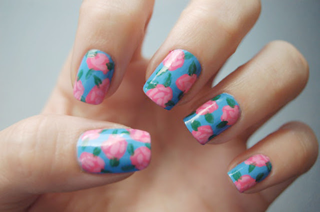 floral nail art design, notd, summer nail art trend, simple nail art design