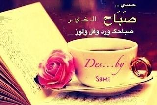 حبيبي صباح الخير صباحك ورد وفل ولوز بطاقة وصورة فيس بوك وواتس