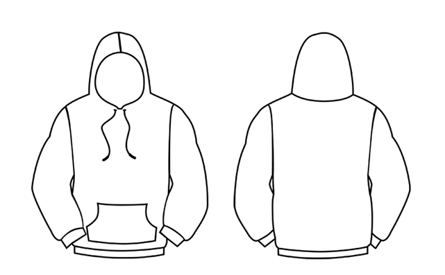 black pullover hoodie template on a hoddie template