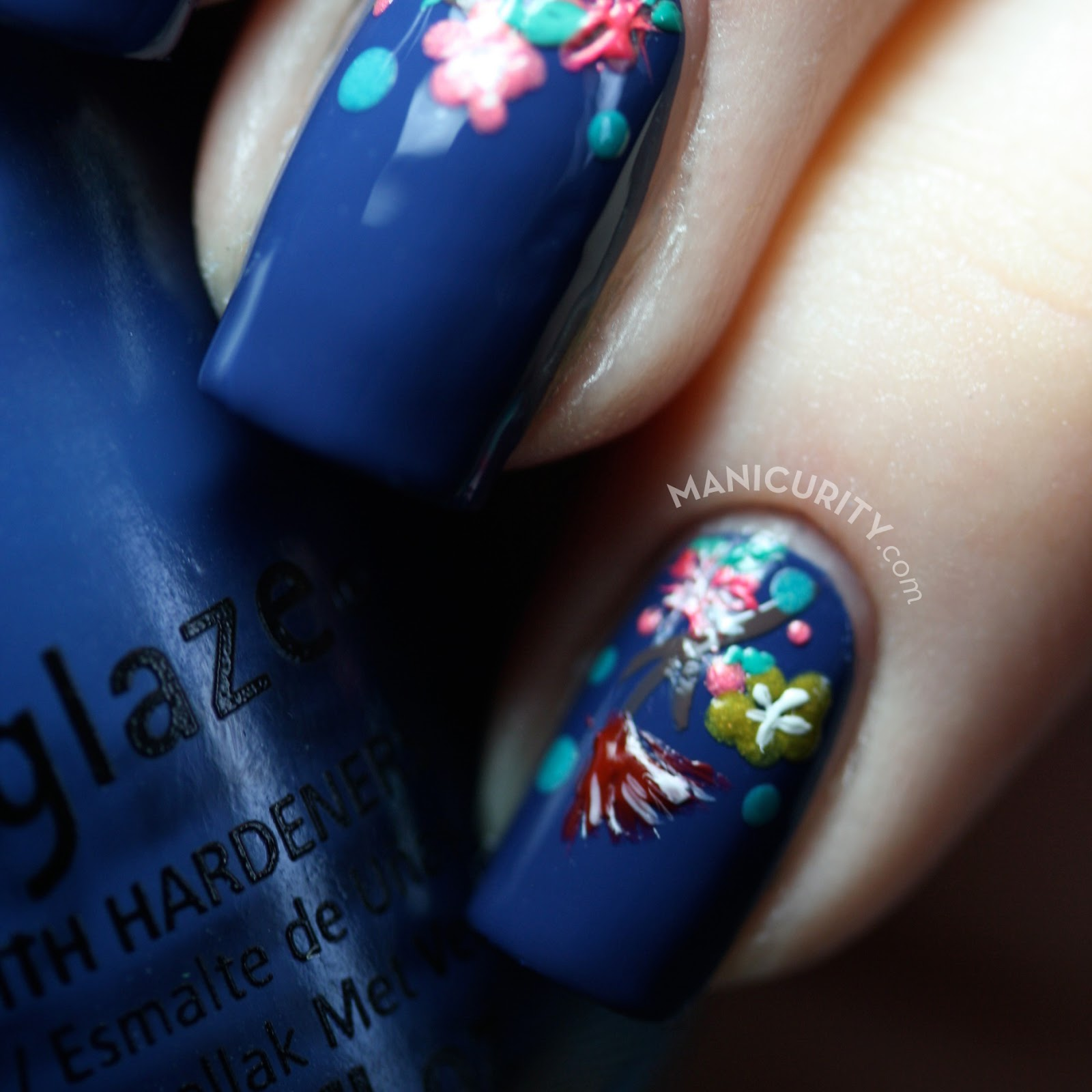 Manicurity.com | Teeny Tiny Flowery Half-Moon Nails - small freehand floral nail art using all China Glaze polishes