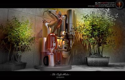 3D coffeemaker model in a 3D interior scene