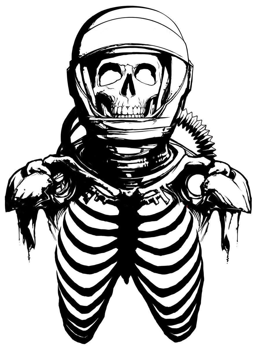 Line Art Space : A wolf illustrations skeleton astronaut