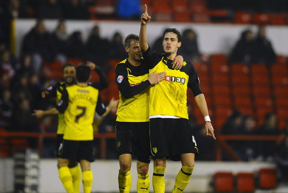 Watford player Gabriele Angella celebrates scoring his first goal against Nottingham Forest