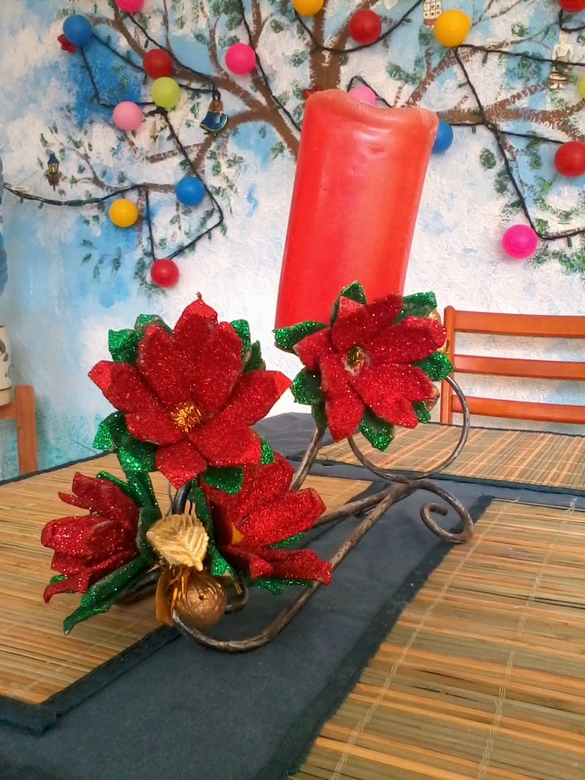 Manualidades y navidad centro de mesa con nochebuenas for Centro mesa navidad manualidades