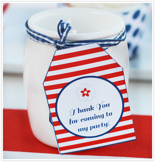 red white blue party favor tag