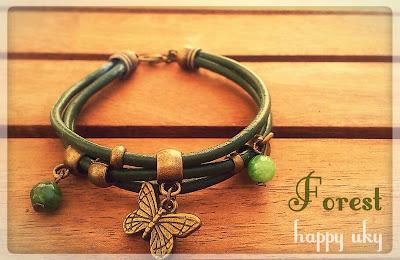 happy uky pulseras forest mariposa verde bracelets  cuero
