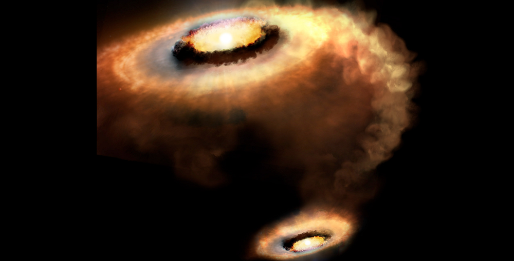Artist's rendition of AS 205 N, a T Tauri star that is part of a multiple star system. Image Credit: P. Marenfeld & NOAO/AURA/NSF