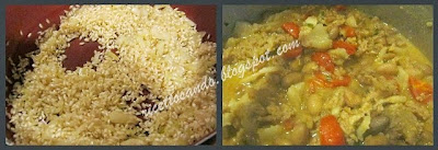 Paniscia piemontese mettiamo il riso in cottura come per un normale risotto