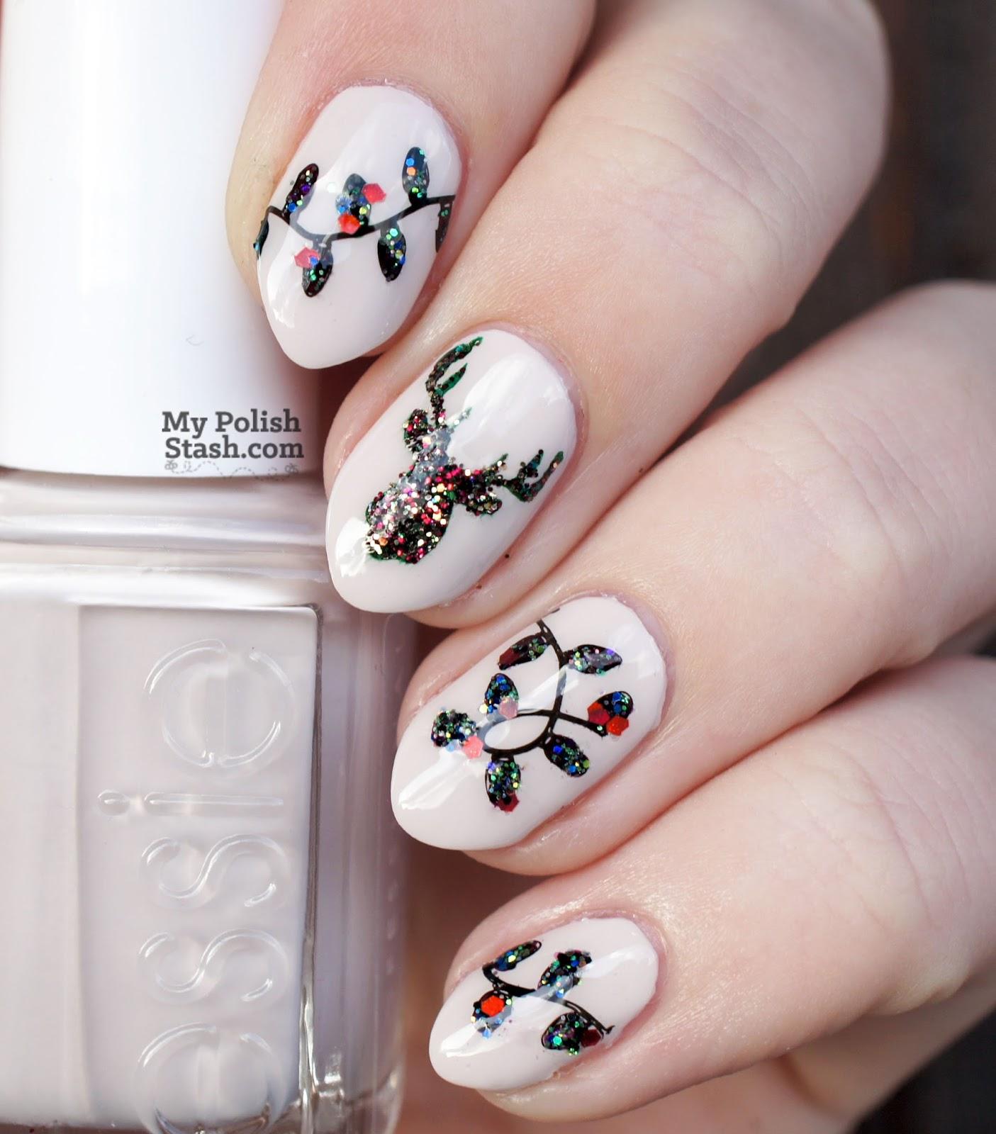 twinkling lights nail art