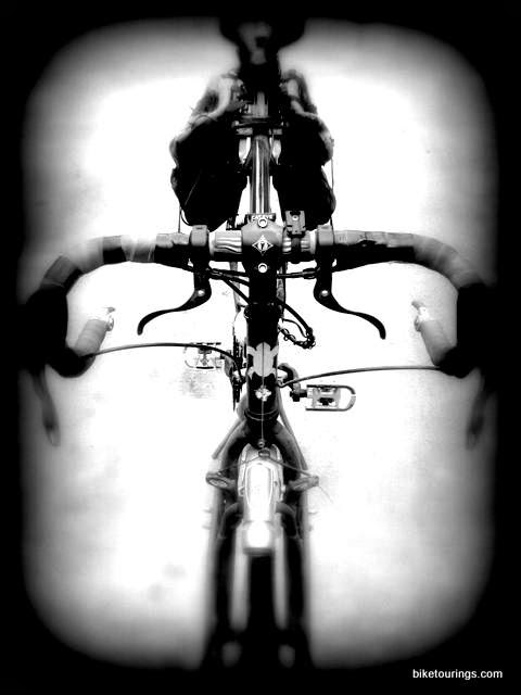 Abstract black and white photo of touring bike for bicycle touring