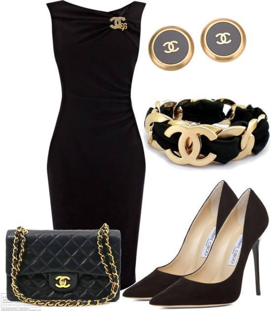C channel gown, ear tops, high heel shoes and hand bag for ladies