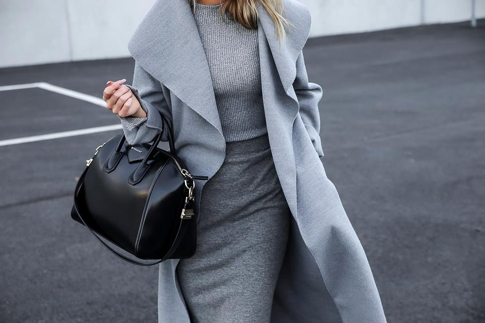 Kristin Sundberg - Grey on Grey - Long Coat, Knit Dress, Givenchy Bag