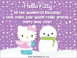 Hello Kitty Happy New Year greeting card ecard