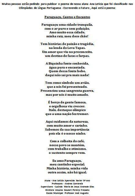 Poema selecionado para Olimpíada de Língua Portuguesa... Ana Letícia Aparecida Xavier