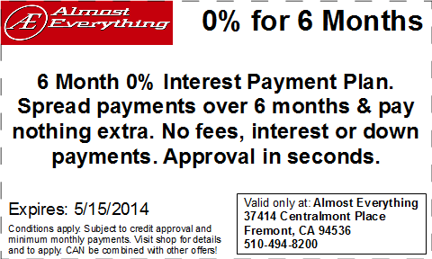 Coupon Almost Everything 6 Month Interest Free Payment Plan April 2014