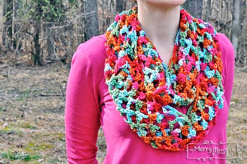 free crochet pattern spring picot trellis circle scarf