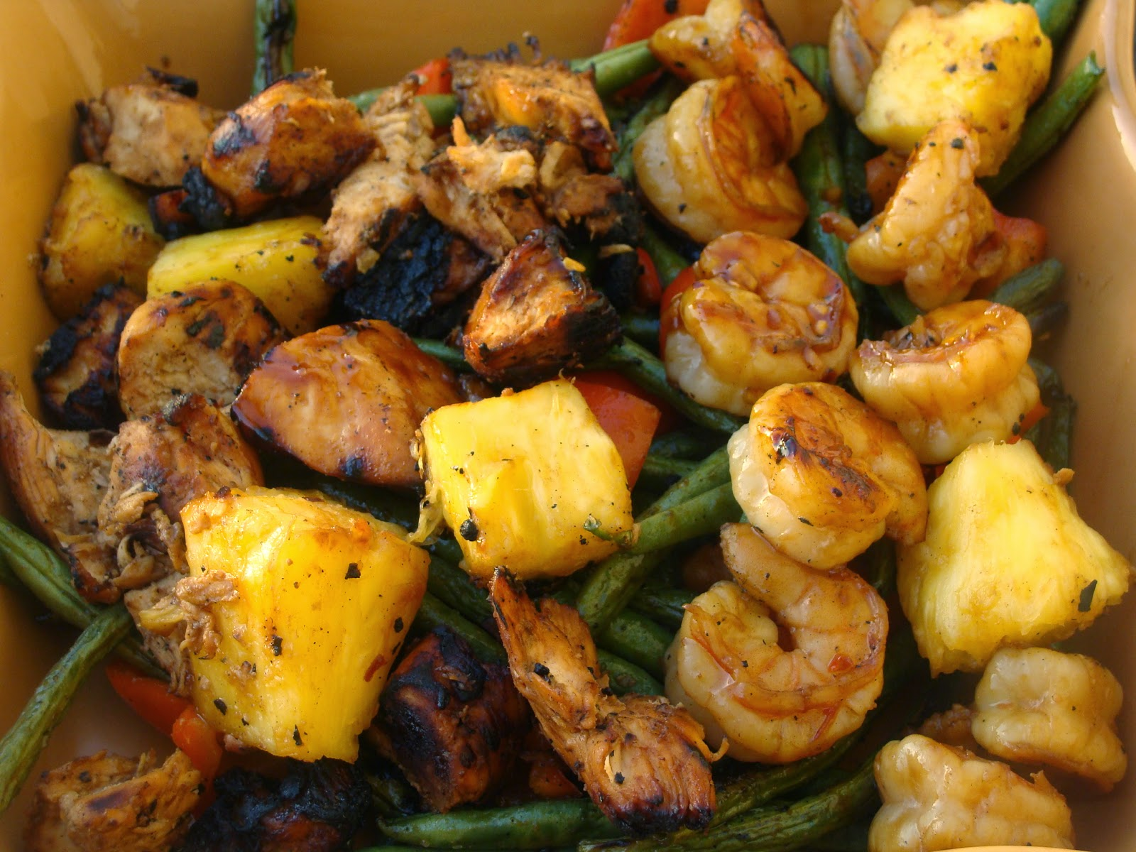 Grilled Polynesian Chicken and Shrimp