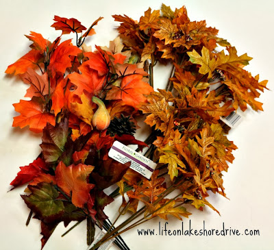 Dollar Tree leaves and berries picks decorating idea, fall decor