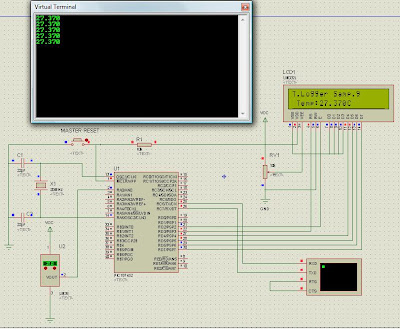 Data logger PIC18f452 Temperature Display and RS232 serial transfer