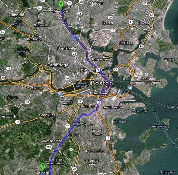 Map of driving from Medford to Roslindale
