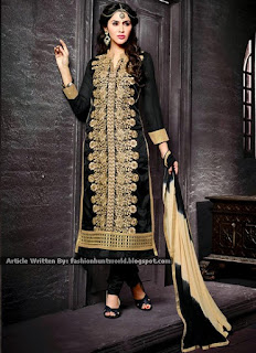 Beige Plus Black Net And Georgette Straight Suit