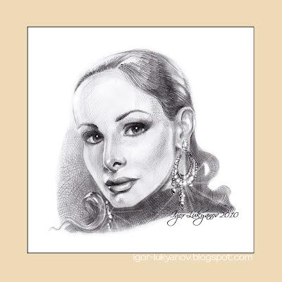 belle femme avec des boucles d'oreilles portrait gratuit par Igor Lukyanov (hachures croisées)