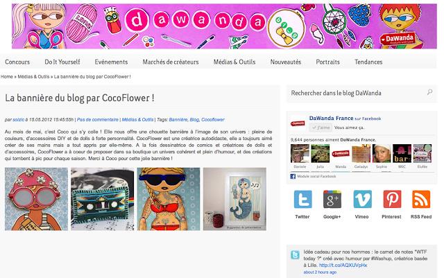 copie d'écran de la banner de CocoFlower sur le blog Dawanda