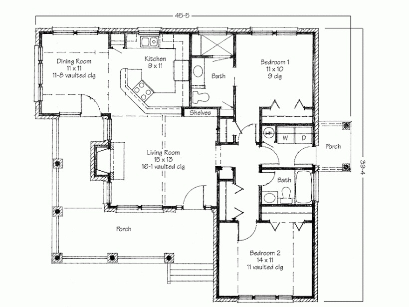 for Four square house plans with attached garage