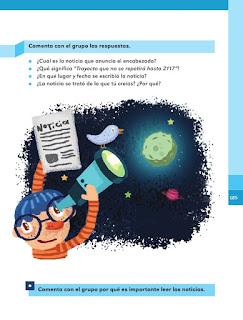 Apoyo Primaria Español 1er grado Bimestre 5 lección 5 El cielo y sus estrellas