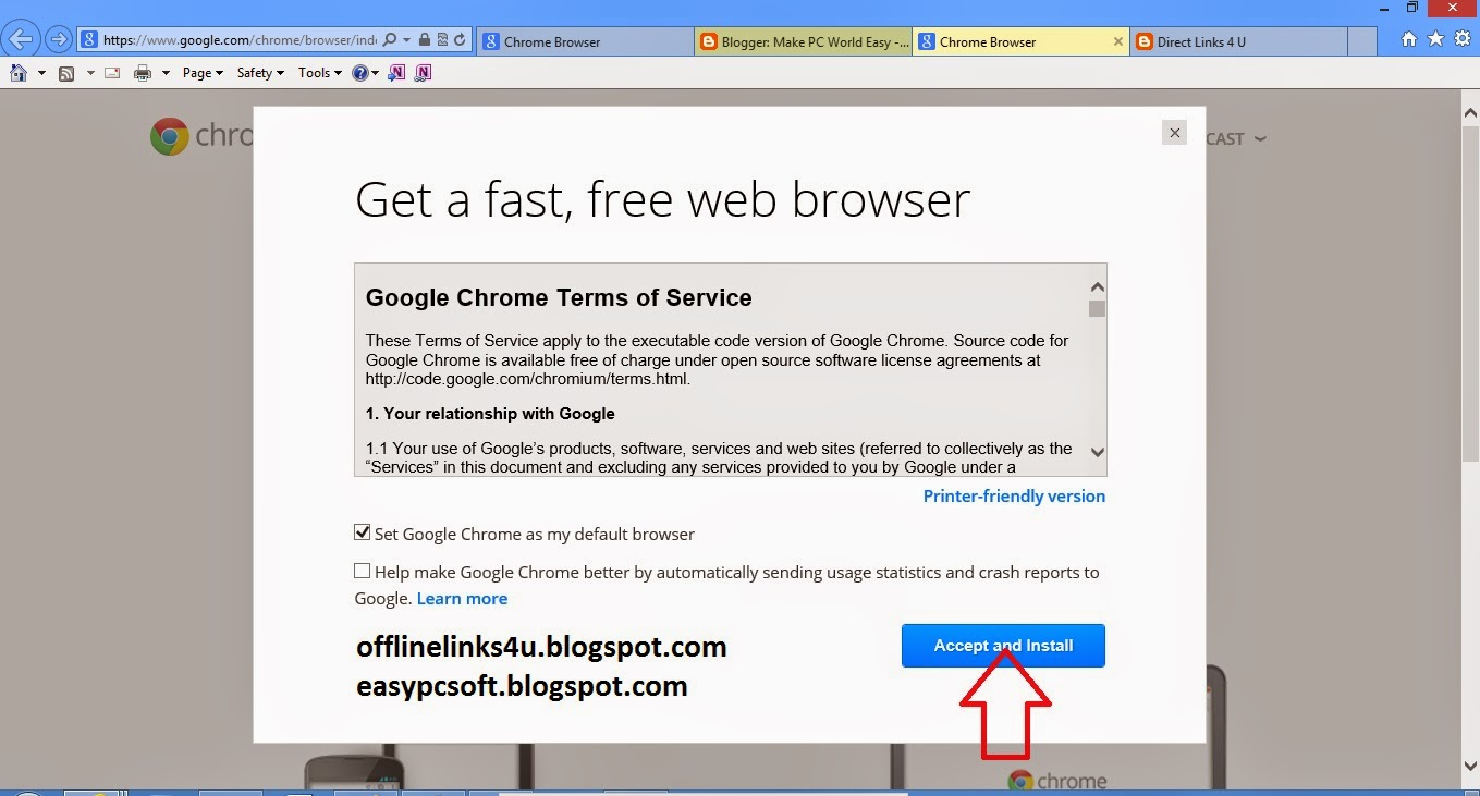 Accept to install google chrome download