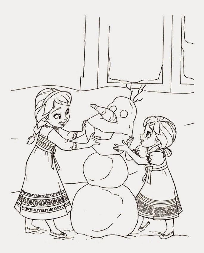 Gambar Mewarnai Anna Dan Elsa Bikin Olaf Frozen