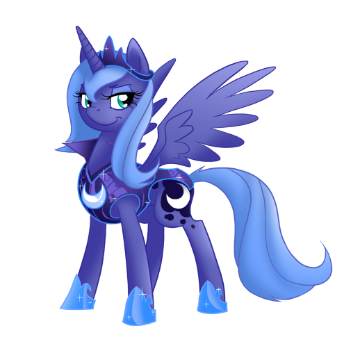I like this one better than the other version, she looks more confident plus the armour matches Celestia's.
