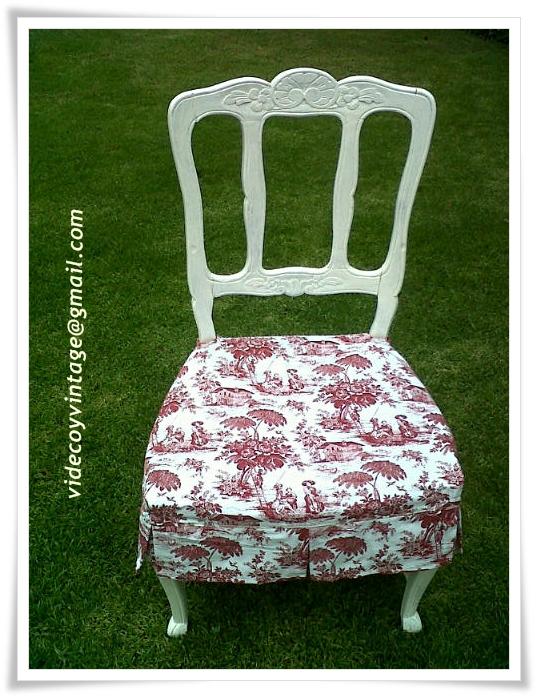 Videcoyvintage deco funda a medida para silla provenzal en toile de jouy - Faldones para sillas ...