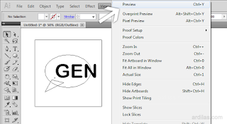 Menu View Preview - Cara Kembali ke Preview / Keluar Dari Outline - Illustrator AI