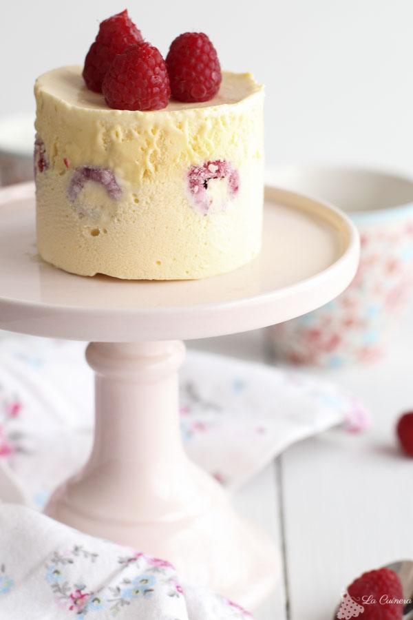 Receta tarta helado con frambuesas