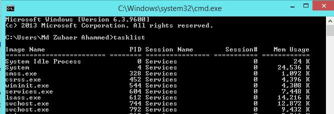view tasklist with cmd