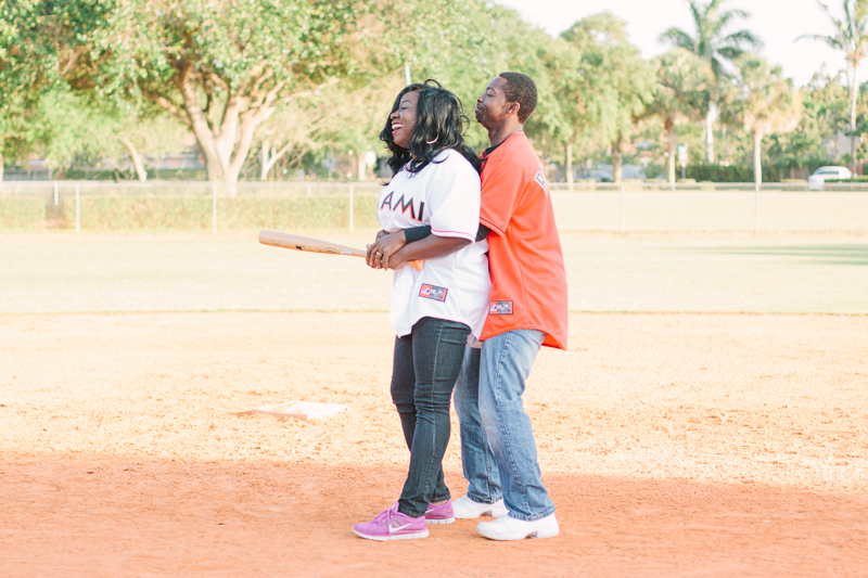 delray baseball themed engagement
