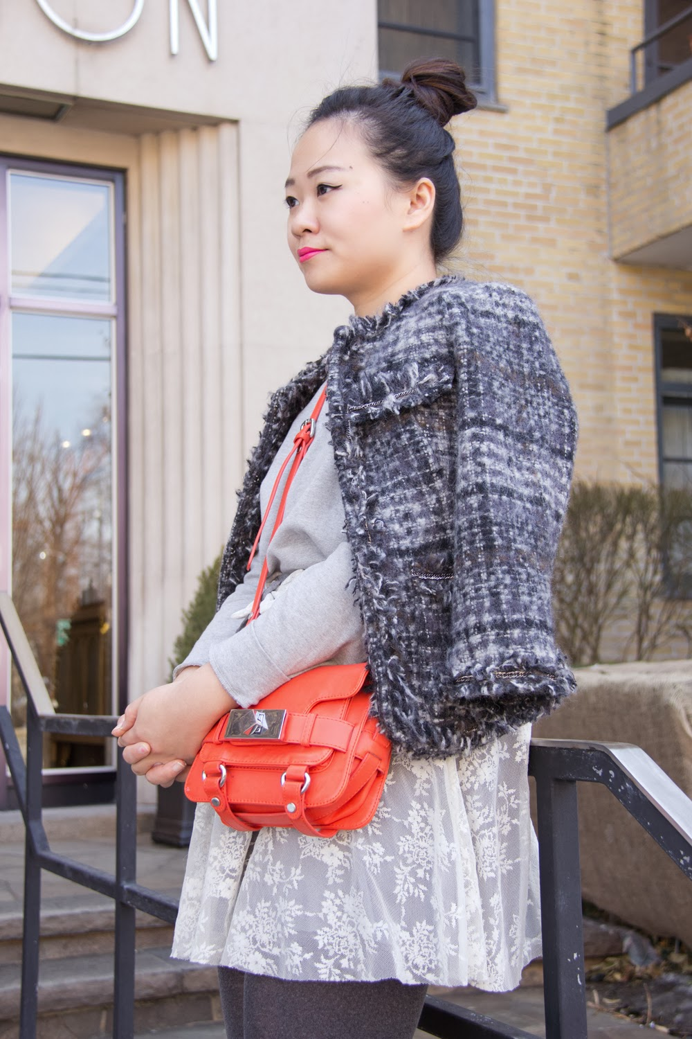 Tweed-Jacket, Embellished-Pullover, Lace-Skirt-With-Bow, Zara-mini-purse, Spring-Outfit